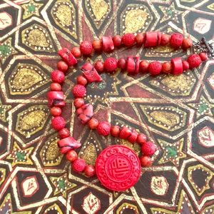FAUX cinnabar and red coral Asian style necklace